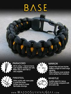 survival bracelet (base plus add on tinder and bands)