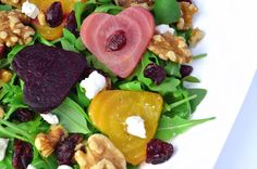 Roasted Beets Arugula Salad with Homemade Balsamic Dressing