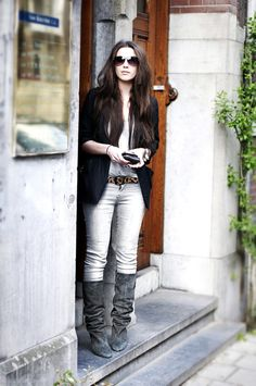 Love the belt and Isabel Marant Aniela boots