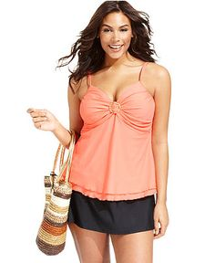 Island Escape Plus Size Swimsuit, Tiered-Hem Tankini Top & Skirted Swim Bottom - Plus Size Swimwear - Plus Sizes - Macys