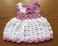Vestido del ganchillo de bebé bebé blanco vestido vestido de