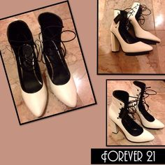 Forever 21 Lace Front Heels White with Black Piping and Laces.. SUPER STYLISH!! Forever 21 Shoes Heels