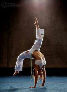 Capoeira girl in action