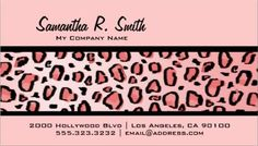 Sophisticated brown animal print wild cat cheetah fur print business simple and girly light pink wild leopard print business cards http colourmoves Images