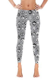Malamute & Husky Leggings with Super cute illustrated, hand-drawn art.