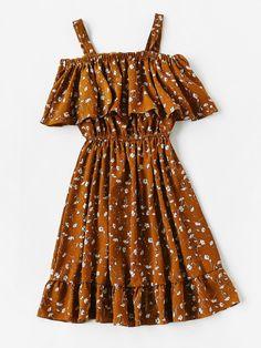 Calico Print Frill Blouson A Line Dress Cute Church Outfits, Cute Summer Outfits, Cute Casual Outfits, Pretty Outfits, Pretty Dresses, Stylish Outfits, Beautiful Dresses, Girls Fashion Clothes, Teen Fashion Outfits
