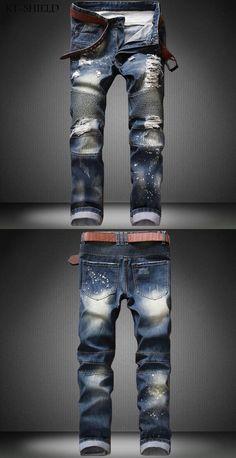 Skinny jeans mens casual trousers pantalon mezclilla hombre ripped Distressed Denim Motorcycle moto Hip hop jogger biker pants