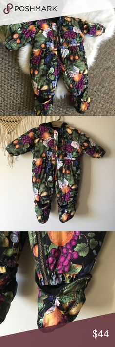 Vintage Floral Snowsuit 12M This gorgeous Snowsuit is in great condition. It has a Faux sheepskin lining on the hood and removable footsies. Vintage Jackets & Coats Puffers