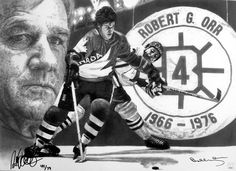 Pencil drawing by Robb Scott. Autographed by Boston Bruin great Bobby Orr and artist Robb Scott. Bobby Orr, Sports Drawings, Boston Bruins Hockey, Robert G, Boston Sports, Toronto Maple Leafs, Sports Art, Sign Printing, Hockey Players