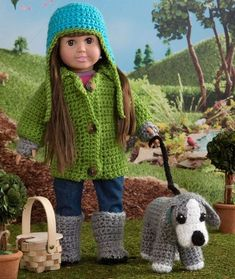 """Walking the Dog for Dolls - 18"""" doll clothes - free crochet pattern including hat, coat & dog! #free #crochet #pattern"""