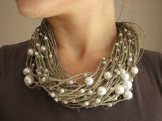scattered pearls linen necklace by grey heart of stone on etsy