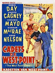West Point Story (1950) Stars: Doris Day James Cagney Virginia Mayo Gordon MacRae Gene Nelson Musical 107 min B&W ~ Broadway director Bix Bixby, down on his luck, is persuaded to go to West Point military academy with Eve, his on-and-off love, to help the students put on a show. His ulterior motive is to recruit student Tom Fletcher for Harry Eberhart's new production (Eberhart just happens to be Tom's uncle). Then, Bixby finds that he himself must live as a cadet.