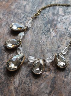 Clear crystal glass drop necklace with quartz by KotomiCreations, $118.00