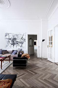 scandinavian apartment, herringbone floor, art, mid century modern, danish design, home decor