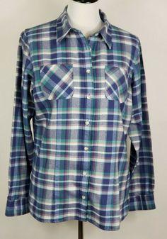 dac968b961 LL BEAN Womens Size Medium Blue Plaid Button Up Long Sleeve Flannel Shirt ~  EUC #LLBean #ButtonUpShirt #Casual
