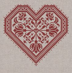 The Flowering Heart - Romantic Cross-Stitch Pattern 4 page Instant Download PDF booklet