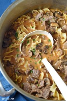 Classic beef stroganoff is transformed into an awesome soup! No need to cook the noodles first, because it's all made in one pot. Easy weeknight dinner!