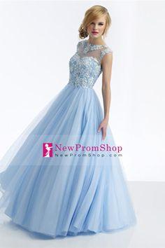 2014 Prom Dress Beaded Floor Length Scoop A Line Pick Up Tulle Skirt Appliqued $220.99 NPSPQBLZSCF - NewPromShop.com