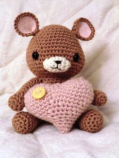 heart teddy crochet amigurumi toy