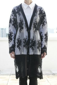 Floral Embroidery Organza Oversized Outerwear/ Cardigan | Drive Store http://www.drive-store.com/collections/smart-casual/products/floral-embroidery-organza-oversized-outerwear-cardigan