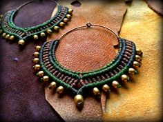 Tribal Macrame Jewelry / Hoop Earrings / Macrame by Kalajadoo