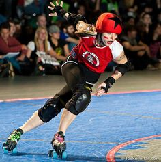 """""""I am a serious athlete, and wearing red lipstick and black eyeliner is who I am when it's time to be in front of the crowd. Red lips don't affect my athletic integrity or abilities, I happen to like it, so I wear it. It's important to do what you love and be yourself and do what's comfortable for you.""""  -Suzy Hotrod"""