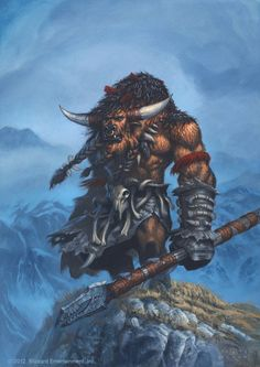 Huln Highmountain WOW hero card Picture fantasy, creature, warrior, barbarian, world of warcraft) World Of Warcraft, Warcraft Art, The Elder Scrolls, Fantasy Creatures, Mythical Creatures, Larp, Bucking Bulls, Dnd Races, Digital Art Gallery