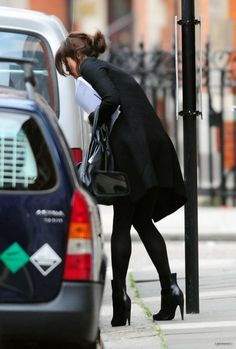 Classic anc chic in black #Style #France #Paris ~ love the little booties with black tights . . . very chic