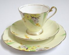 Vintage Tea Trio Roslyn China Art Deco Hand by TheWhistlingMan, £8.00 - SOLD!