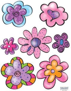 """Flirty Flower Wall Stickers (14) Girls Wall Decal Peel & Stick by Create-A-Mural. $17.99. Washable, Repositional and Removable. Unique Custom Design Exclusive to Create-A-Mural. Flirty Flower Wall Stickers. 8.5"""" x 11"""" Sheets -14 flower wall decals for girls room decor. Flirty Flowers Wall Sticker Decals (3) 8.5"""" x 11"""" Sheets. Flowers are 5"""" -3"""" wide."""