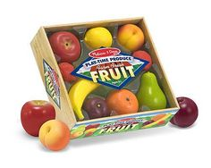 Play-Time Produce Fruit - Play Food : Picked at the peak of ripeness, these realistically sized fruits come packed with vitamin P for play! There are nine pieces in this crate of farm fresh favorite fruits, each made of durable molded plastic to withstand years of supermarket, restaurant, and farmers market play.