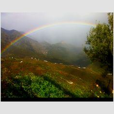 A bit of rain is good for the garden and look what a rainbow we get with it. From Cortijo El Carligto looking toward La Maroma.