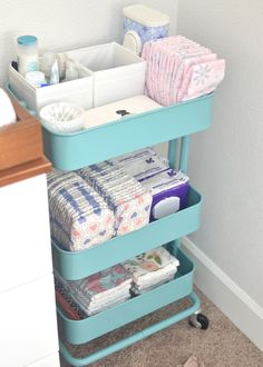 Convert an IKEA rolling cart to changing station storage for diapers, wipes, and more. Perfect for baby's nursery! Convert an IKEA rolling cart to changing station storage for diapers, wipes, and more. Perfect for baby's nursery! Ikea Raskog, Raskog Cart, Baby Boy Rooms, Baby Boy Nurseries, Baby Room Ideas For Boys, Room Baby, Baby Nursery Ideas For Girl, Ikea Baby Room, Future Baby Ideas