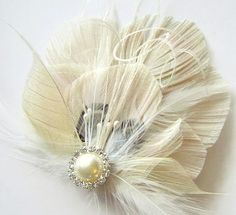 CHAMPAGNE and IVORY Peacock Feather Clip Rhinestone by maggpieseye, $25.00