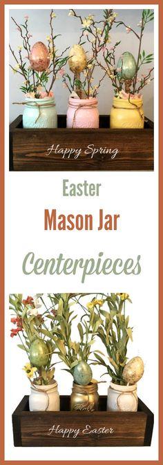 Easter farmhouse style table decor | mason jar vases in wooden planter box #centerpieces #masonjar #Easter #affiliate