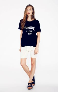 Bare feet. White sheets. Breakfast in bed. Sunday, I love you. This Perfect Tee features a crewneck, roomy, short sleeves and a roomy, a-lined body. Constructed from a deliciously light and soft heather jersey blend.  100% Rayon