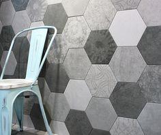 tile-Sangah's - ATLAS collection 250x216  차분한 그레이 컬러에 어우러지는 하늘색 의자 ♥ #tile #tiles #Sangahtile #interior #space #design #concrete #hexagon #wall #floor #living #style #타일 #상아타엘 #헥사곤 #육각형타일 #리빙 #룸 #홈 #인테리어 #공간 #추천 #벽 #바닥