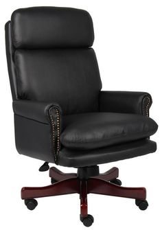 Boss Office Products B850-BK Boss Traditional Back Executive Chair In Black W/Mahogany Base