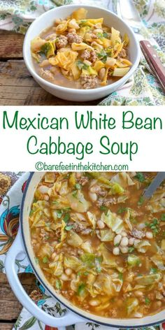 Mexican Cabbage Soup with White Beans and Sausage - get the recipe at barefeetin. - NEW Barefeet In the Kitchen Recipes - Irish Mexican Bean Soup, Mexican Soup Recipes, Beef Soup Recipes, Cabbage Soup Recipes, Mexican Vegetable Soup, Vegetable Dishes, Canning Soup Recipes, Mexican Vegetables, Chowder Recipes