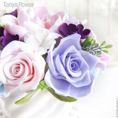 """Купить Букет цветов """"Сиреневый туман"""" - цветы, цветы из полимерной глины, букет в подарок"""