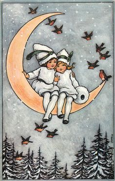 two children in white snow suits sit on the moon, robbins fly around them
