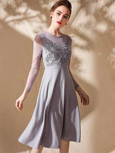 Fashion O-Neck Long Sleeve Embroidery Gathered Skater Dress