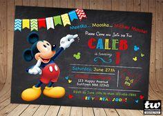 SALE 60% OFF Mickey Invitation Mickey Mouse Chalkboard