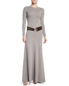Long-Sleeve Cashmere Dress & Suede Split Belt by Ralph Lauren Black Label at Neiman Marcus.