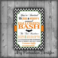 Printable Halloween Invitation Halloween Bash by ParraclanDesigns, $12.00