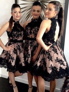 cute black lace short prom dress, black lace bridesmaid dress, lace backless formal dress for teens