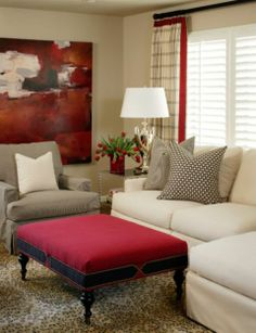 Like the placement of furniture and the large canvas to soften the corner.