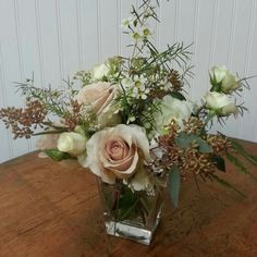 Quicksand Rose, Spray Roses, Wax Flower and Seeded Eucalyptus