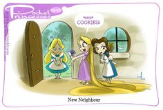Pocket Princesses 66: The New Neighbour Please reblog, dont repost! Credit for the idea for this one goes to super-Mentor-Man Tad Stones. Because he is a genius veteran Disney tv writer and it was too damn good to resist. Dont forget to check out the first official print Singalong, available from Acme Archives starting at San Diego Comic Con!