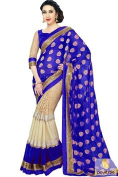 Create ethnic style statement by wearing latest blue cream color georgette silk Karishma Kapoor saree with price. Purchase latest designer bollywood sarees in low cost for special occasion. #saree, #bollywoodsaree more: http://www.pavitraa.in/store/bollywood-saree/